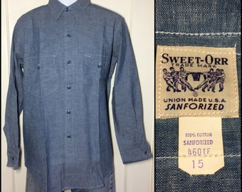 deadstock 1950's Sweet Orr blue Chambray Work Shirt size 15 Union Made in USA Sanforized