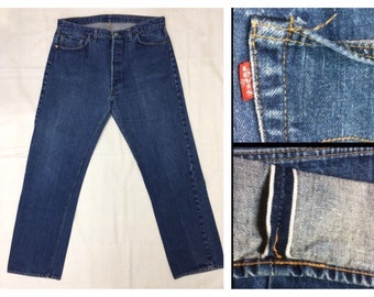 Indigo Blue denim 501 Levi's Jeans 42x36, measures 37.5x31 redline selvedge single stitch number 6 button fly black bar Boyfriend #263
