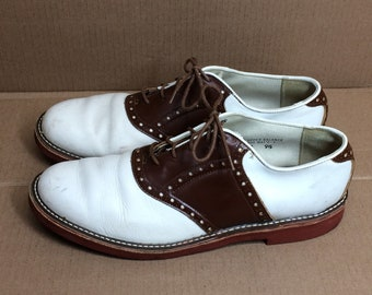 1970s 2 tone brown white leather saddle shoes size 10.5 Stacy brand sock hop punk rockabilly swing