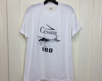 deadstock 1980s Cessna 180 Aircraft airplane t-shirt size large 20x27 pilot aviator aviation thin white tee Screen Stars made in USA NOS