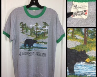 1980s Jackman Maine nature scene black bear woods river mountain souvenir t-shirt size XL 21x25 heather gray green ringer Screen Stars