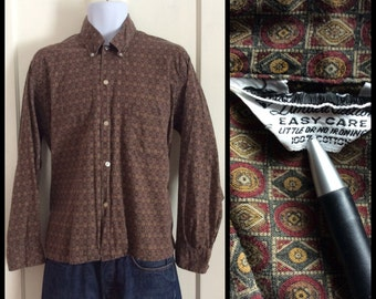Vintage 1950's Patterned Button Down Collar Mens Shirt size Large Brown