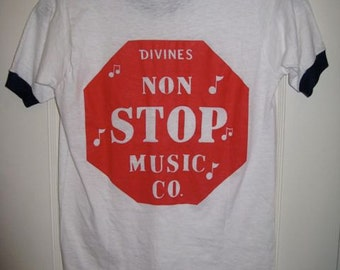 Deadstock 1980's Divine's Non Stop Music Co. back print thin white cotton ringer t-shirt youth size 14-16, 16x23 XS record store NOS