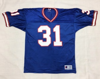 1990s NFL New England Patriots football team jersey #31 Jason Sehorn size 44 Champion brand blue white red throwback Super Bowl party