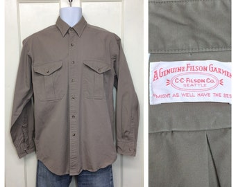 1990s Filson work shirt size medium all cotton made in USA taupe