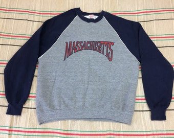 1970s 2 tone sweatshirt size XL, looks large tri-blend cotton rayon heather gray navy blue white piping Massachusetts made in USA