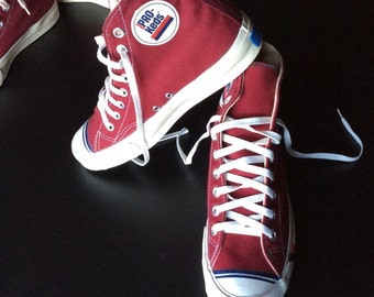 deadstock 1960's Pro Keds Canvas Shoes Hi Top Sneakers size 7 Burgundy Red NOS