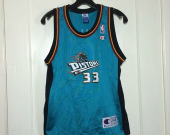 1990s Grant Hill Detroit Pistons number 33 NBA Basketball team Champion made in USA Jersey Tank size Youth L 14-16 #33