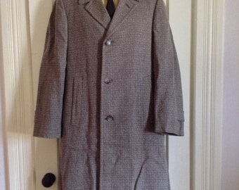 Vintage Deadstock 1950's Rockabilly Fleck Speckled Tweed Overcoat Coat looks size Large Gray plaid