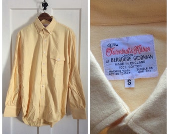 Deadstock Vintage Soft Herringbone Flannel Mens Shirt size Small Yellow Button Down
