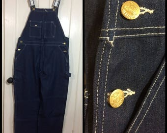 deadstock 1970s dark wash indigo blue denim Carter's Overalls 42x30 Made in USA NWT NOS watch the wear