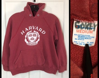 1980s faded burgundy red Harvard University school crest hoodie sweatshirt size medium, looks XS 19x17 Champion brand made in USA Ivy League