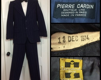 1970s Designer Pierre Cardin Boutique Paris Made in France 1974 2 piece blue pinstripe tailored Wool Suit Small wide leg trouser 31x30
