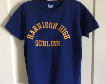 1970s Harrison High School Goblins t-shirt size medium 18x21 Champion brand Blue Bar cotton made in USA single stitch