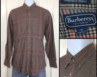 1980s Burberry's of London check plaid cotton shirt size medium button down collar beige navy blue red made in USA