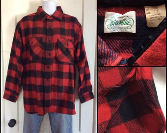 1960's Big Mike Wool Shirt red black Buffalo Plaid size 17 XL Union Made with Gussets