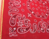 vintage 1950 39 s Elephant Trunk Up large Red Bandana 22.5x20.75 Fast Color Hearts Dots Paisley Octagon Flowers Selvedge 64