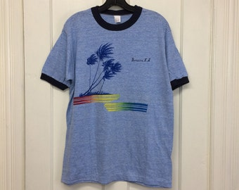 deadstock 1970s Bonaire, NA tri-blend ringer souvenir t-shirt size XL 20x26 heather blue rayon tropical Caribbean island sailing surfer