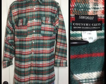1930's Deadstock Antique thick Plaid Flannel Shirt size 15.5 peach green red gussets nos Sanforized Brown Durrell Company of Boston