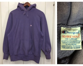 1990s faded Champion reverse weave hoodie pullover sweatshirt size XXL faded purple made in USA