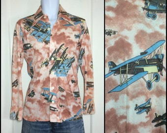 Vintage 1970's Airplane clouds Patterned Disco Shirt size Medium by Chess King