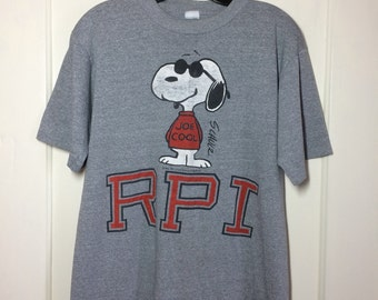 Snoopy RPI Rensselaer Polytechnic Institute space science engineer school heather gray t-shirt looks size Large 20x25 Artex feels triblend