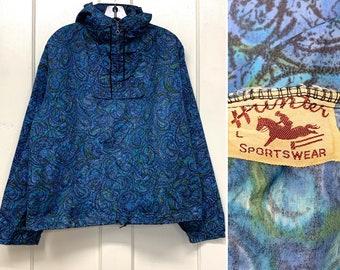 1960s nylon pullover anorak half zip hoodie jacket size large blue batik paisley swirls patterned by Hunter Sportswear metal zippers