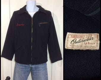 30c8124aaca 1940s Hercules Outerwear by Sears wool belt back side straps jacket looks  size small navy blue black embroidered name Davis workwear