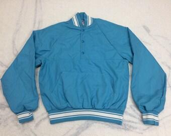 1970s light blue henley neck pullover windbreaker bomber jacket size medium polyester lined nylon half snap T large pocket by Velva Sheen