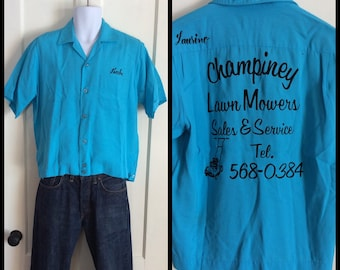 Vintage 1960's Rayon King Louie Bowling Loop Shirt size Medium Babe Champiney Lawnmower