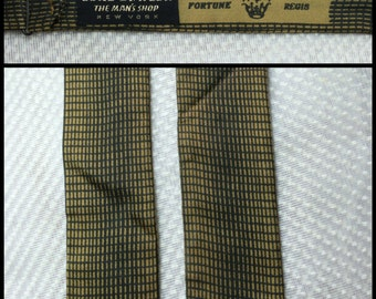 Vintage Lord and Taylor All Silk 3D effect tiny check Self Tie Bowtie Gold yellow Black Op Art Adjustable