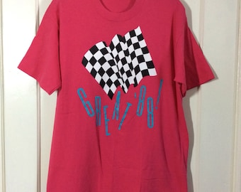 1980's Hot Pink Great '88! checkerboard auto racing flag T-shirt size Large 19x28 all cotton 80s party beach 1988 made in USA race car