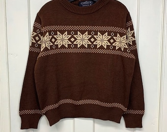 1970s snowflake ski pullover sweater looks size medium brown tan by Cellini Knitwear