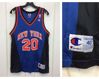 1e372fd30 1990s Allan Houston New York Knicks number 20 NBA Basketball team Champion  brand Jersey Tank size 40 medium V-neck blue black orange