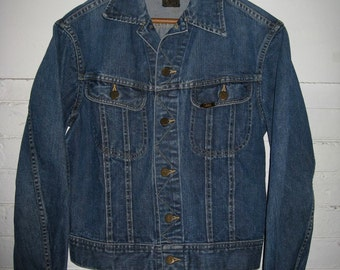 1960s Lee 101-J denim blue jean jacket size 36 Small 2 Pocket noon made in USA patina #1807