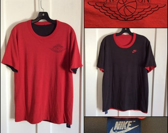 AJ1 1980's Nike Reversible Air Jordan 1 basketball wings T-shirt size Large 20x28 made in USA Red Black