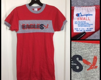 deadstock 1980s Eagles heather gray stripe red ringer 2 tone t-shirt size small, looks XS 14.5x25.5 Champion brand cloth tag made in USA NOS