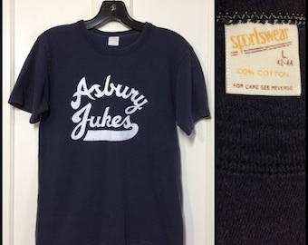 1970's Asbury Jukes band blue all cotton Sportswear T-shirt size large, looks small 17x23 Southside Johnny NJ Stone Pony Steve Van Zandt