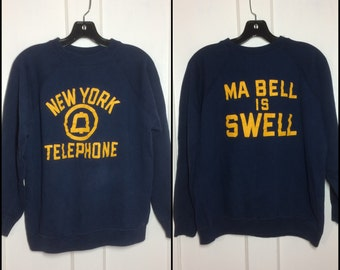 distressed 1960's New York Telephone Ma Bell is Swell Sweatshirt looks size Medium Blue, got the Ill Communication flat overstitch