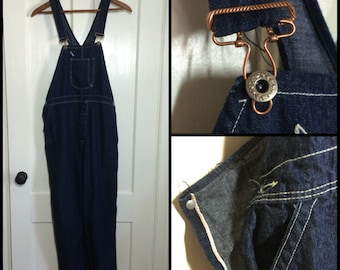 collector Antique 1920s 1930s Indigo Blue bib Overalls 39x30 with Selvedge Donut Hole Buttons and copper hardware single pocket