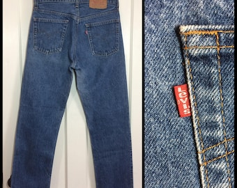 Vintage 1980's Levi's 505 Straight Leg Denim Blue Jeans 31X30 made in USA Boyfriend #305
