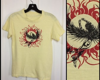 1970s Greek mythology Icarus flying too close to the sun t-shirt looks size XS 16x22 all cotton yellow psychedelic hippie