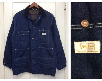 1960s Montgomery Ward Powr House blanket lined denim chore work jacket size 44 Union made in USA