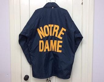 Notre Dame Fighting Irish fleece lined windbreaker jacket college sports navy blue yellow size M-L hidden hood