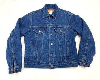 1980s blanket lined Levi's denim blue jean jacket size 42 dark wash made in USA 4 pockets #962