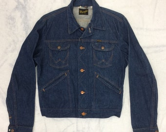 1970s dark blue Wrangler denim jean jacket made in USA size 40 one wash 4 pocket #949