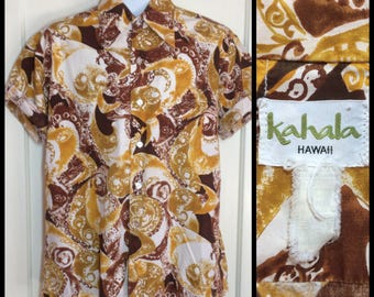 1960s Hawaiian Psychedelic Patterned short sleeve cotton Shirt looks size XL Kahala Hawaii brown yellow white tropical island beach party
