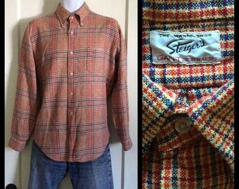 vintage 1960's Gant Shirtmakers Button down collar Thin soft woven cotton plaid shirt size Large Steiger's Red white blue orange