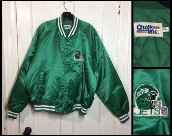 1980s green Chalkline satin quilted bomber jacket size xxl NY Jets NFL football sports team