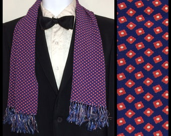 Vintage 1940's formal crepe rayon royal blue red white patterned tiny square flowers print Ascot Cravat Opera Scarf 37x11.25 plus fringe